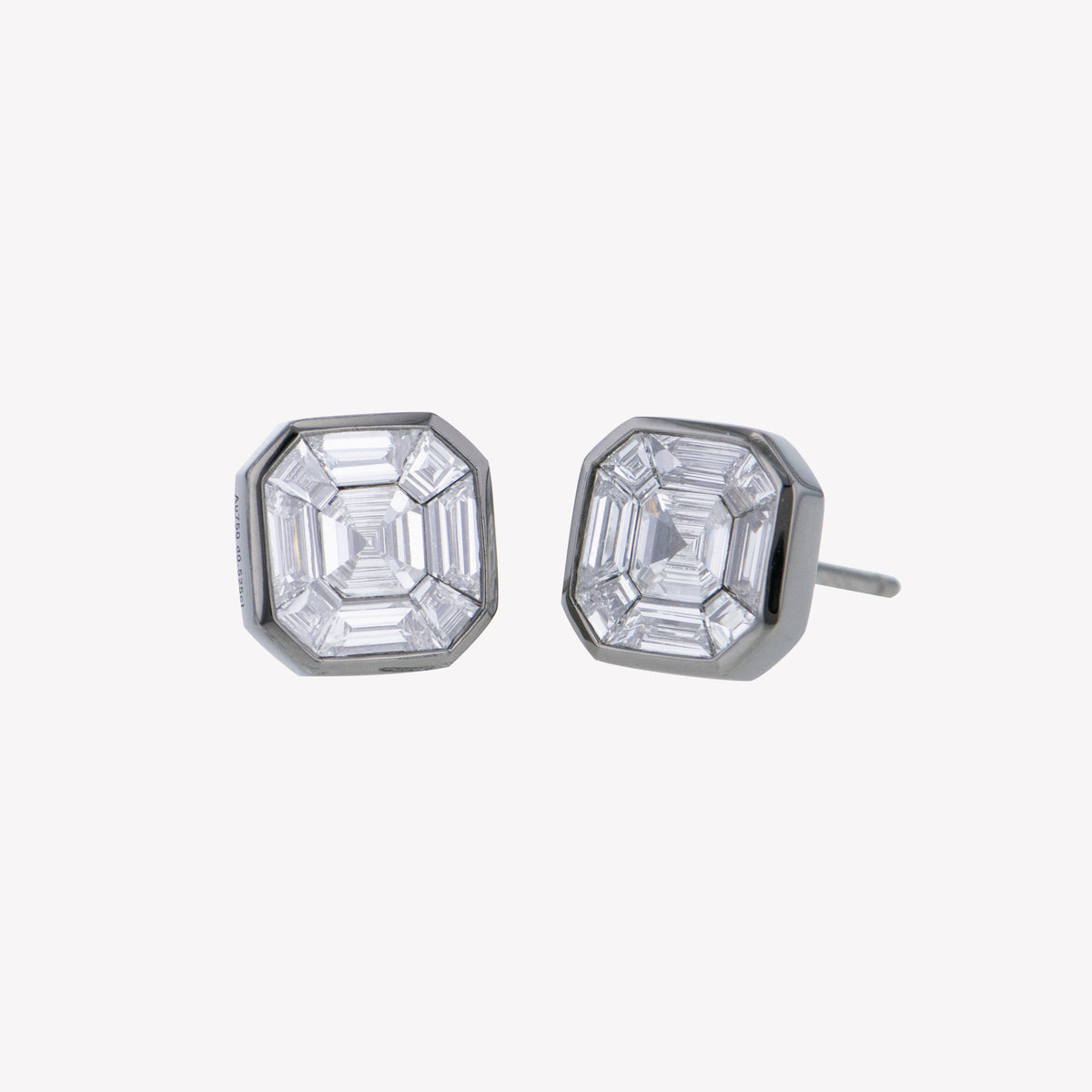 Black Gold Asscher Studs Diamond Earrings