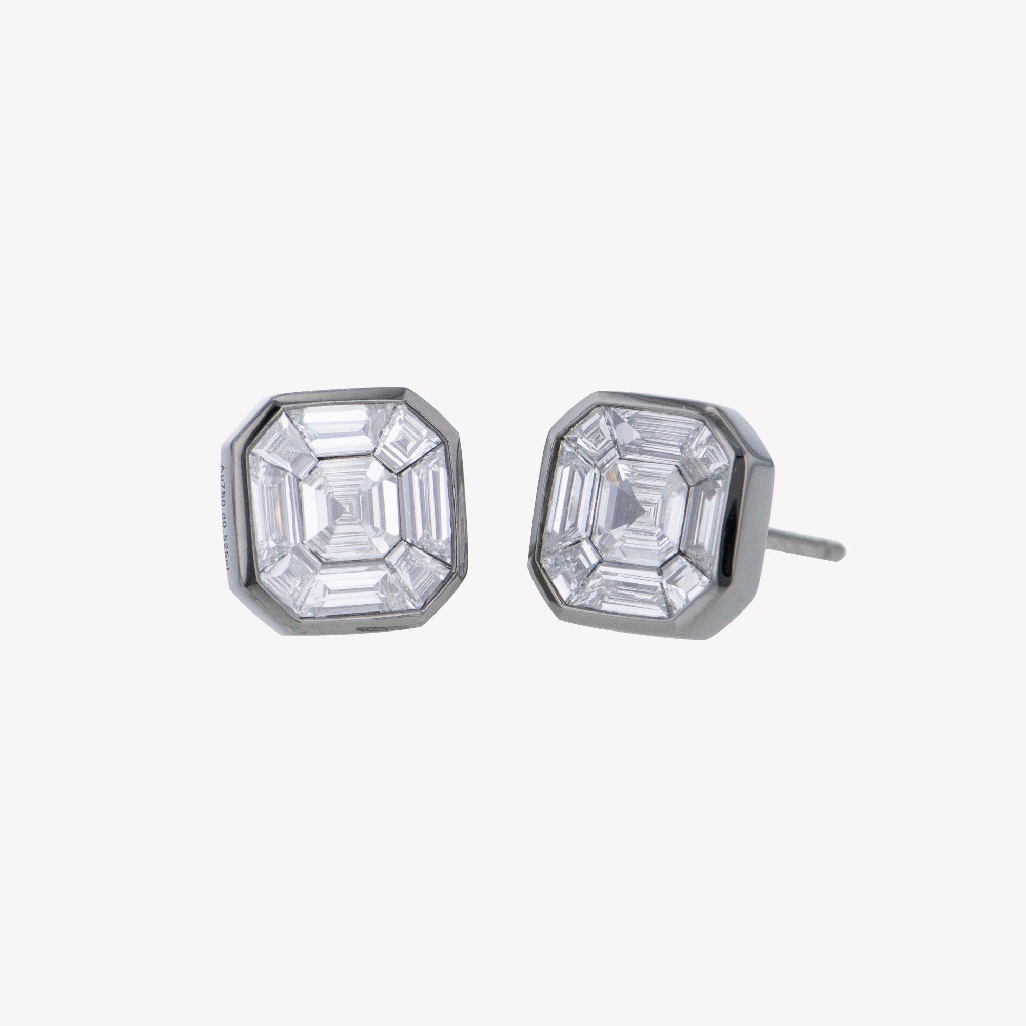 Black Gold Asscher Studs with Wing Inspired Accessories