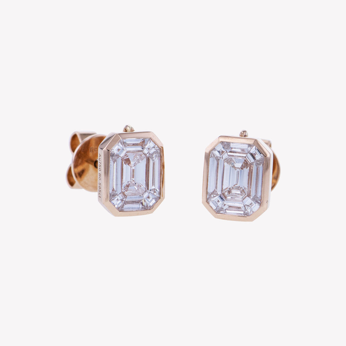 Rose Gold Emerald Studs Diamond Earrings