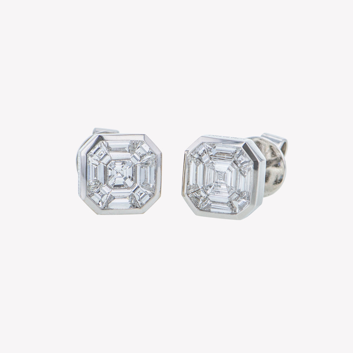 White Gold Asscher Studs Diamond Earrings
