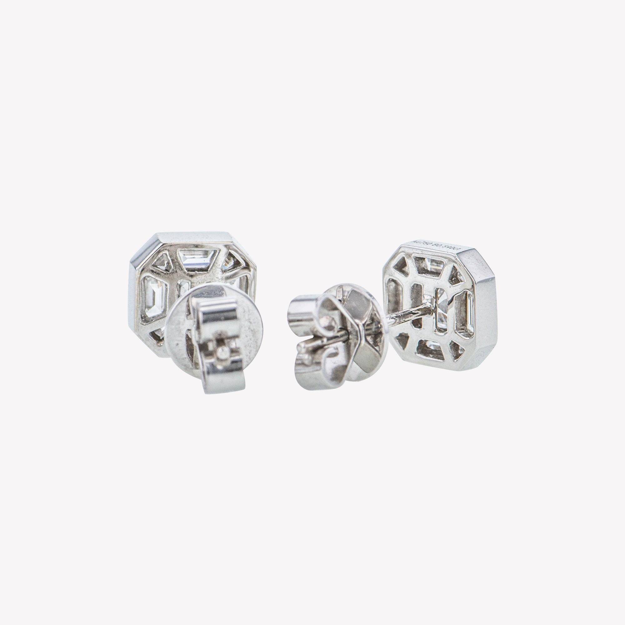 White Gold Asscher Studs with Spike Accessories