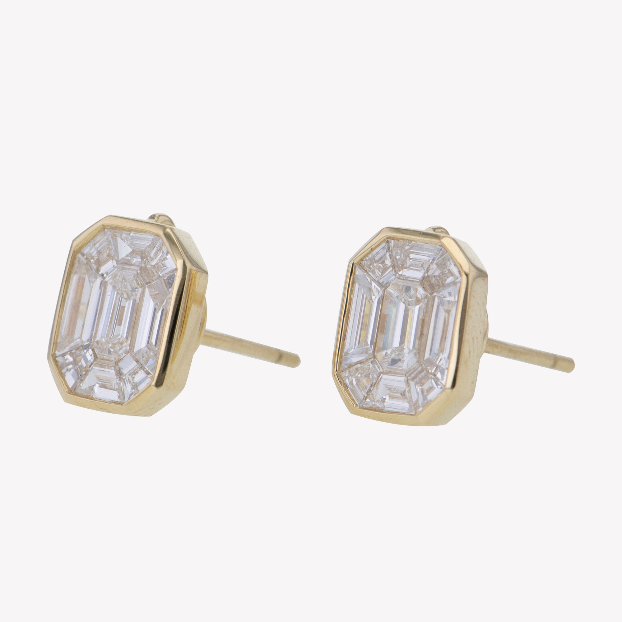 Yellow Gold Emerald Studs Diamond Earrings