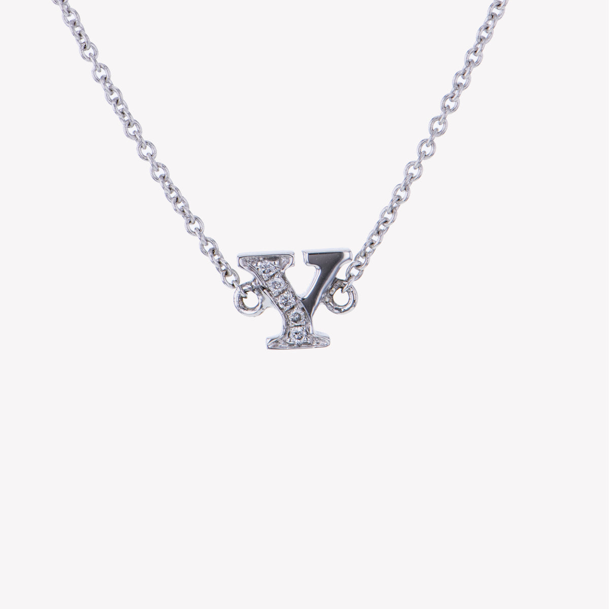 Letter Y Diamond Pendant With Chain in White Gold
