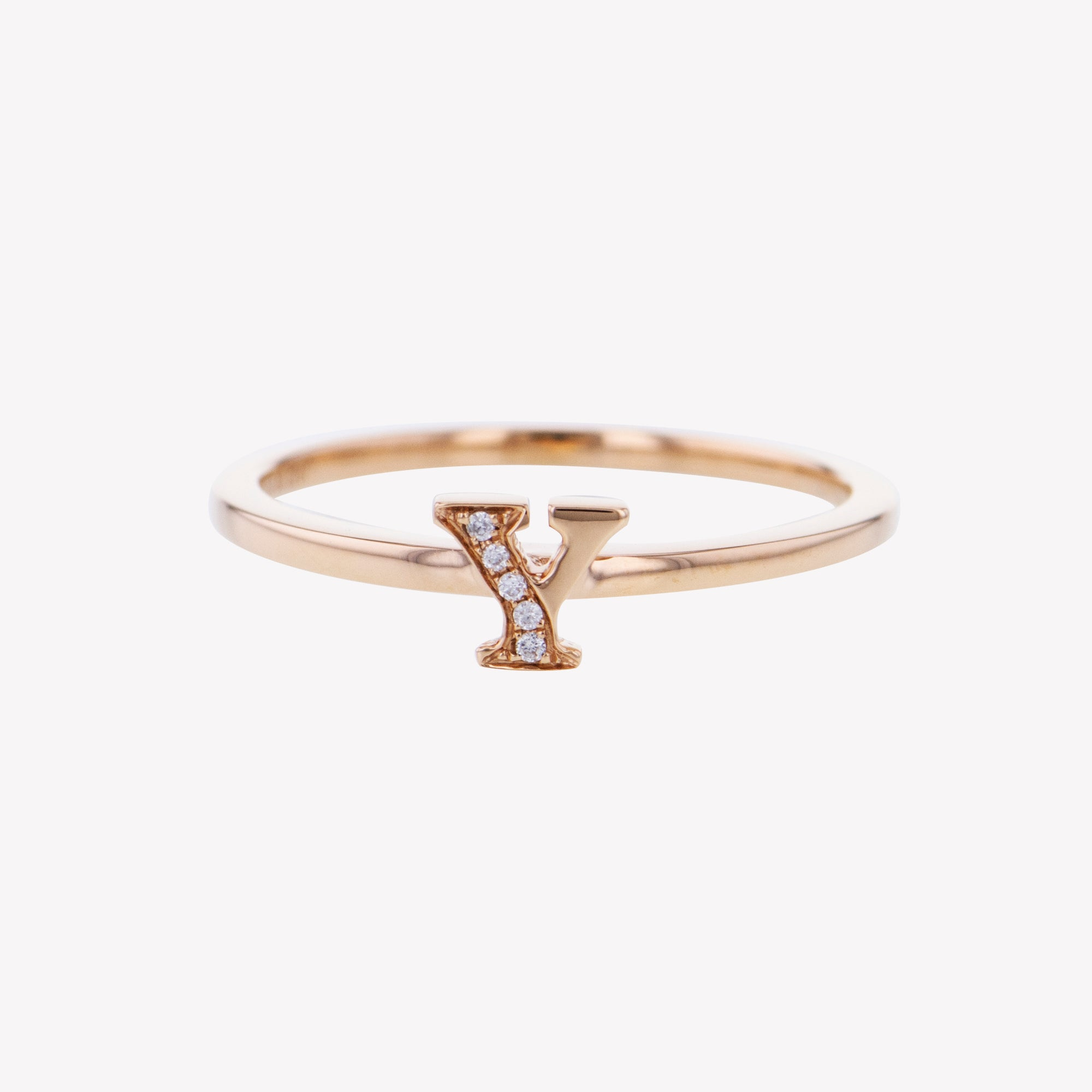Letter Y Diamond Ring in Rose Gold