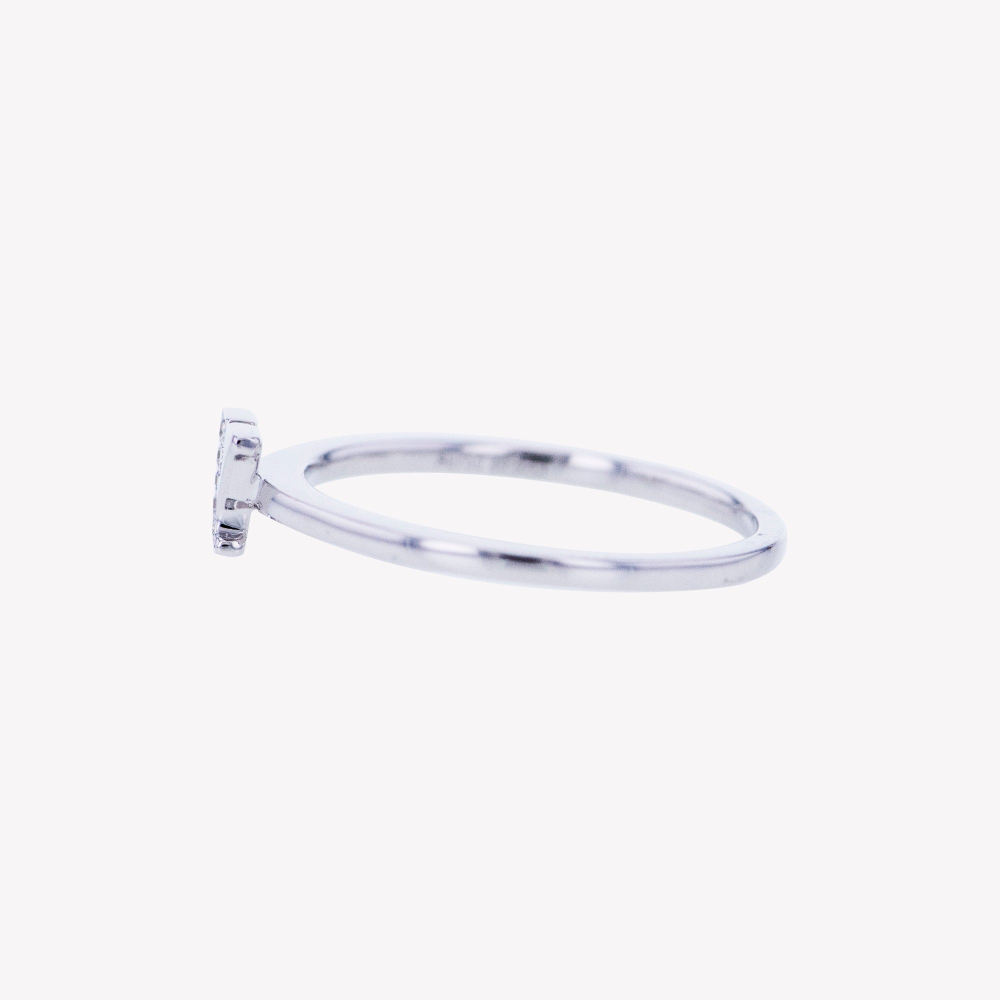 Letter Y Diamond Ring in White Gold