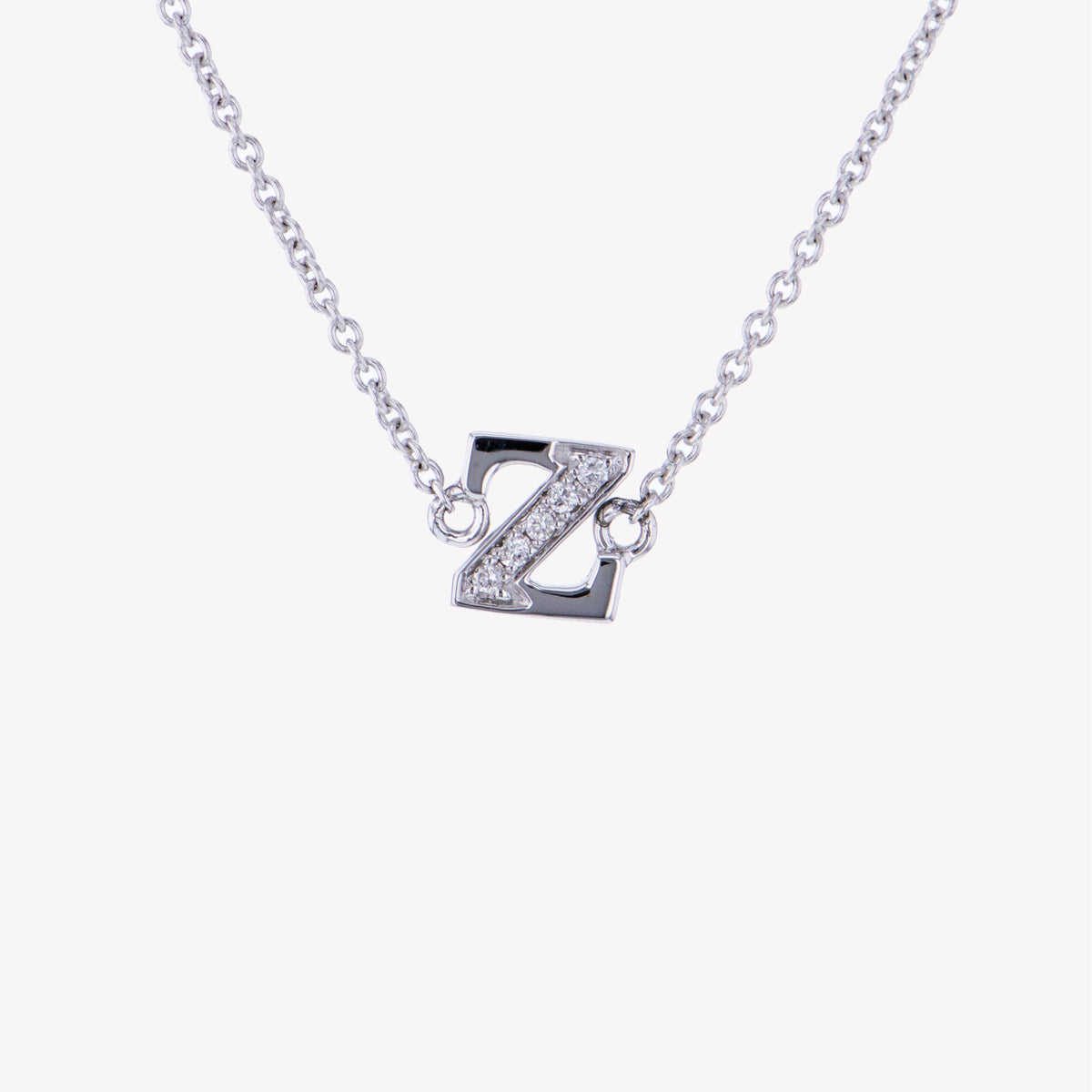 Letter Z Diamond Pendant With Chain in White Gold