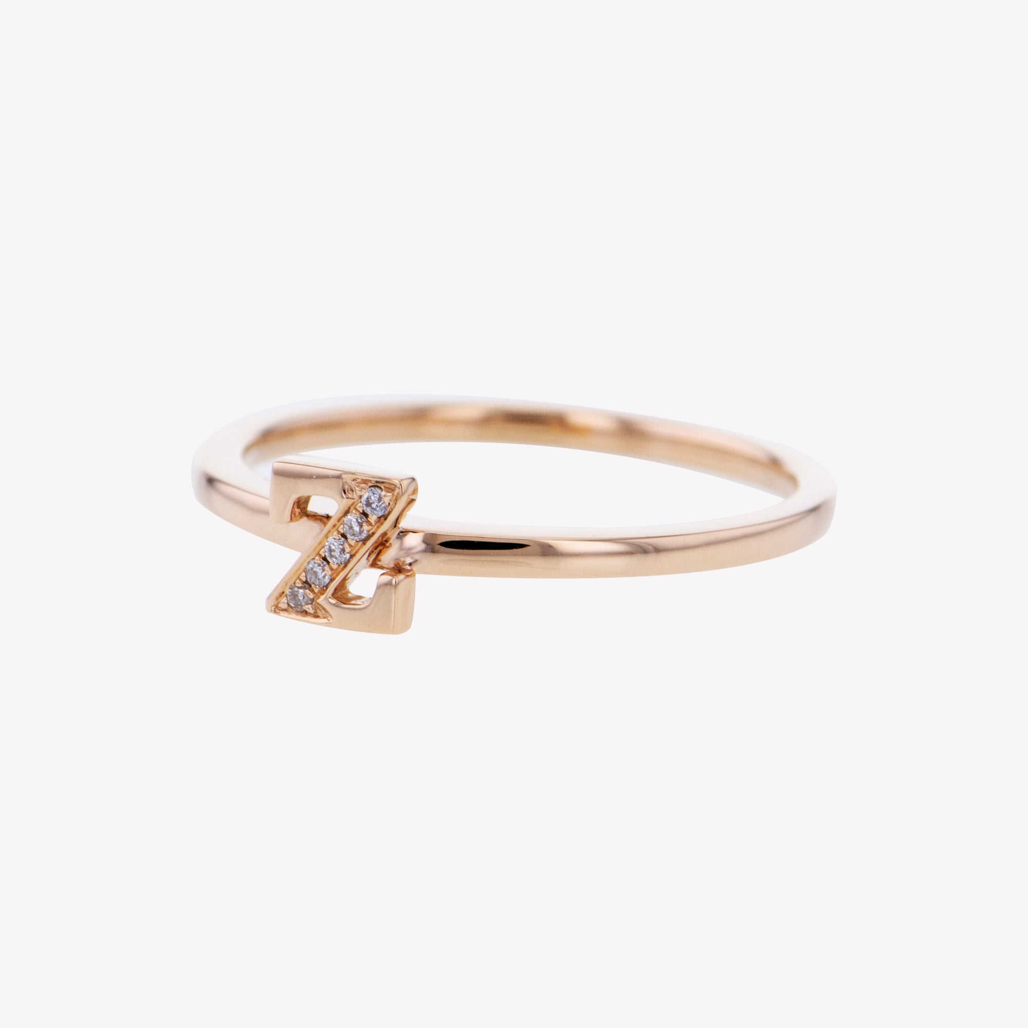 Letter Z Diamond Ring in Rose Gold