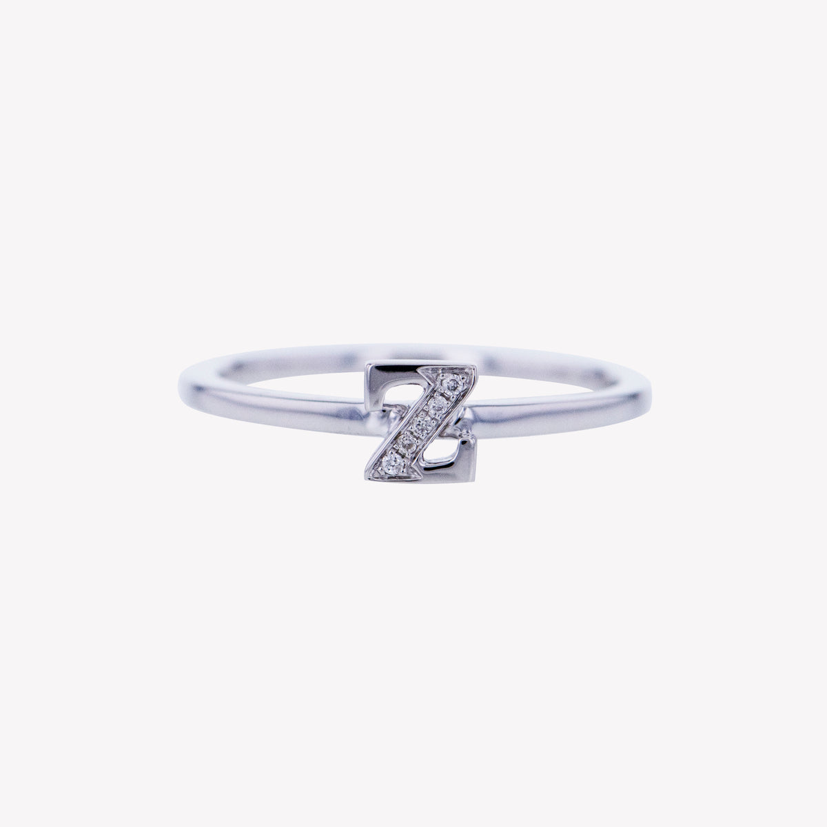 Letter Z Diamond Ring in White Gold