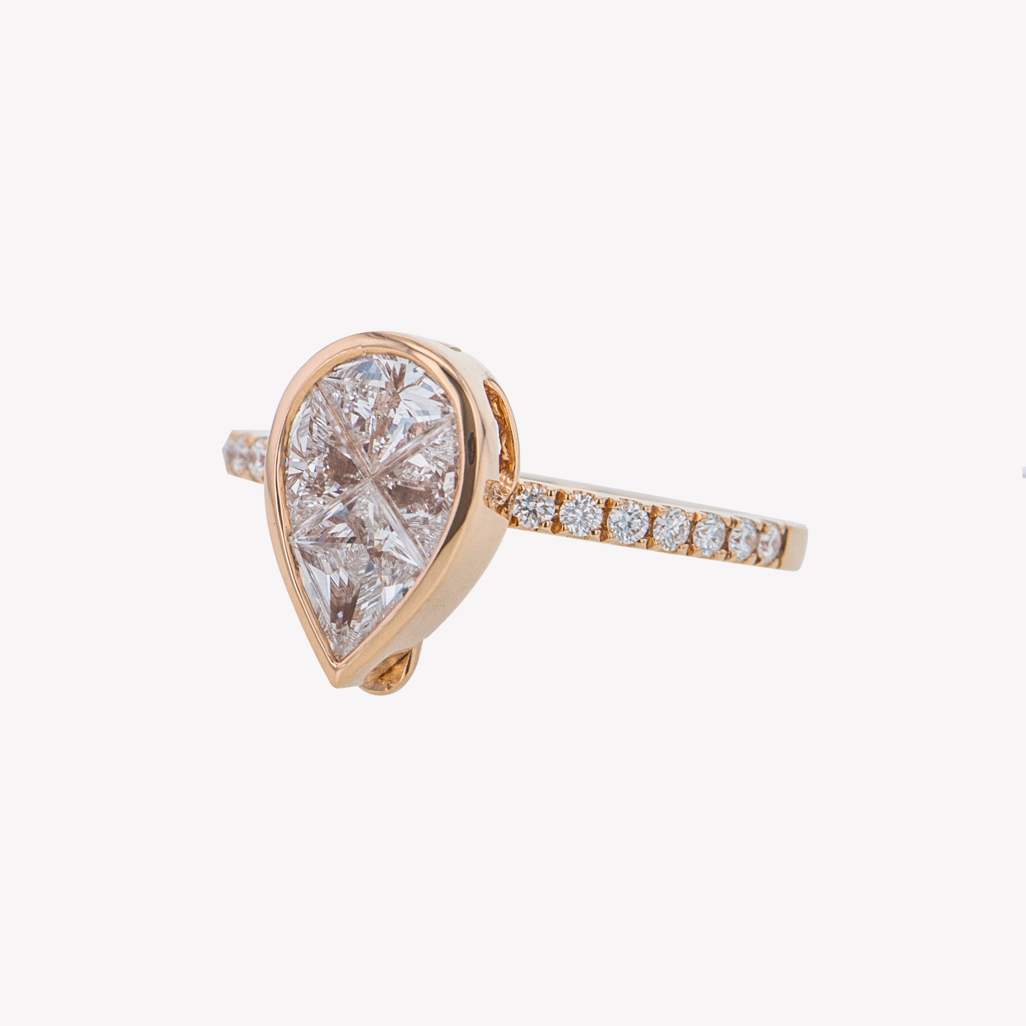 Detachable Rose Gold Pear Head with Round Diamond Band