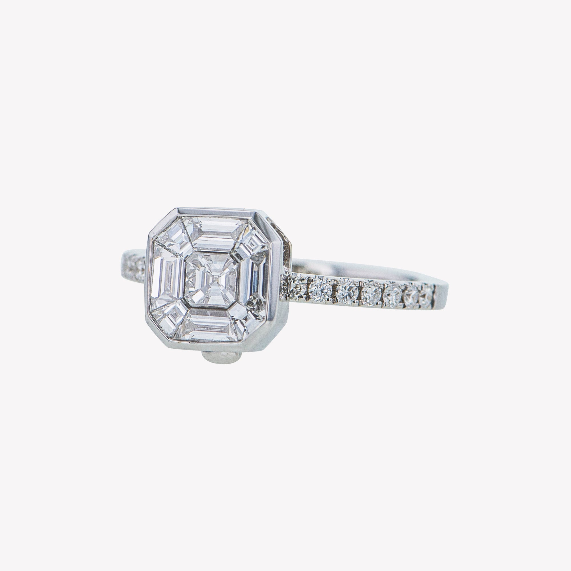 Detachable White Gold Asscher Head with Round Diamond Band