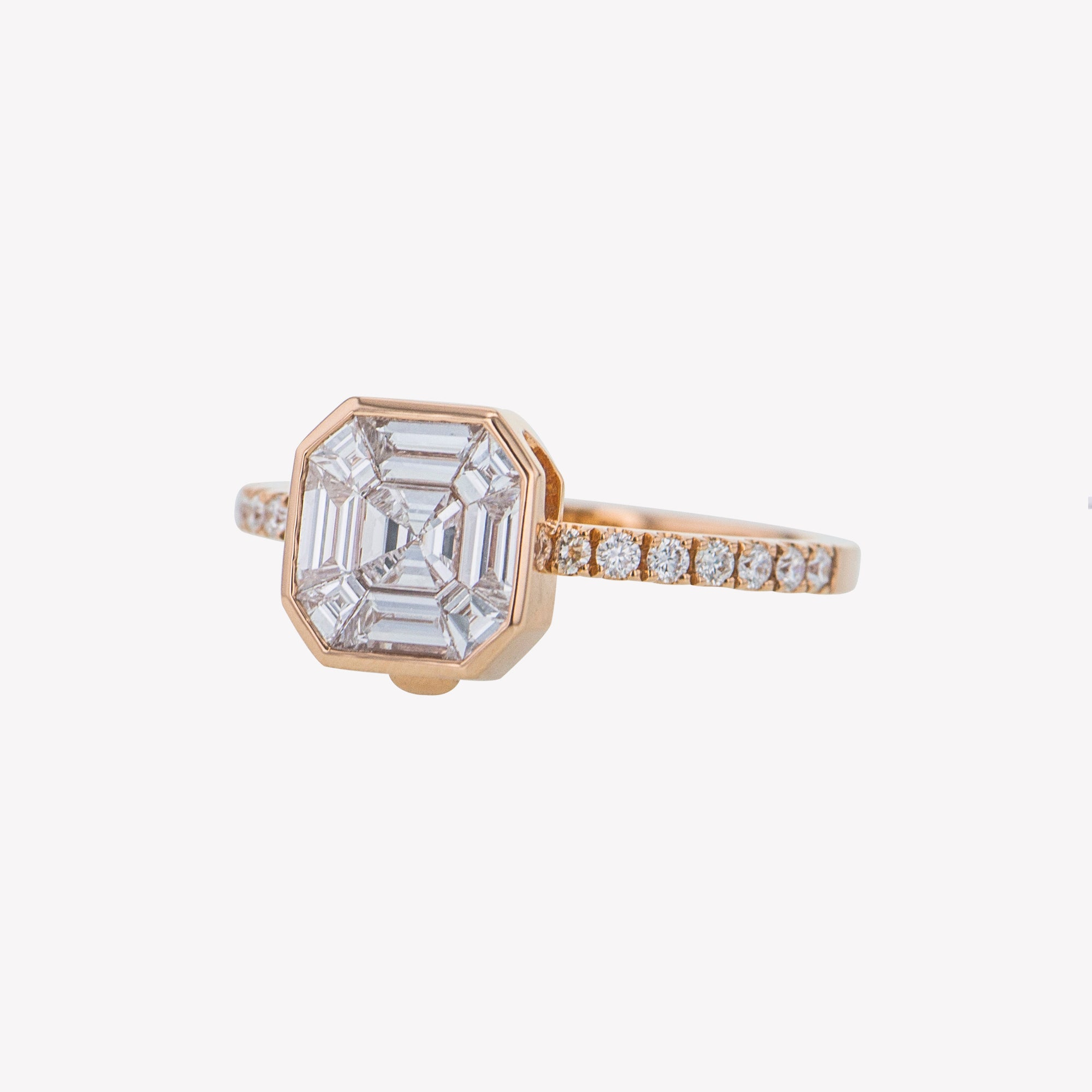 Detachable Rose Gold Asscher Head with Round Diamond Band