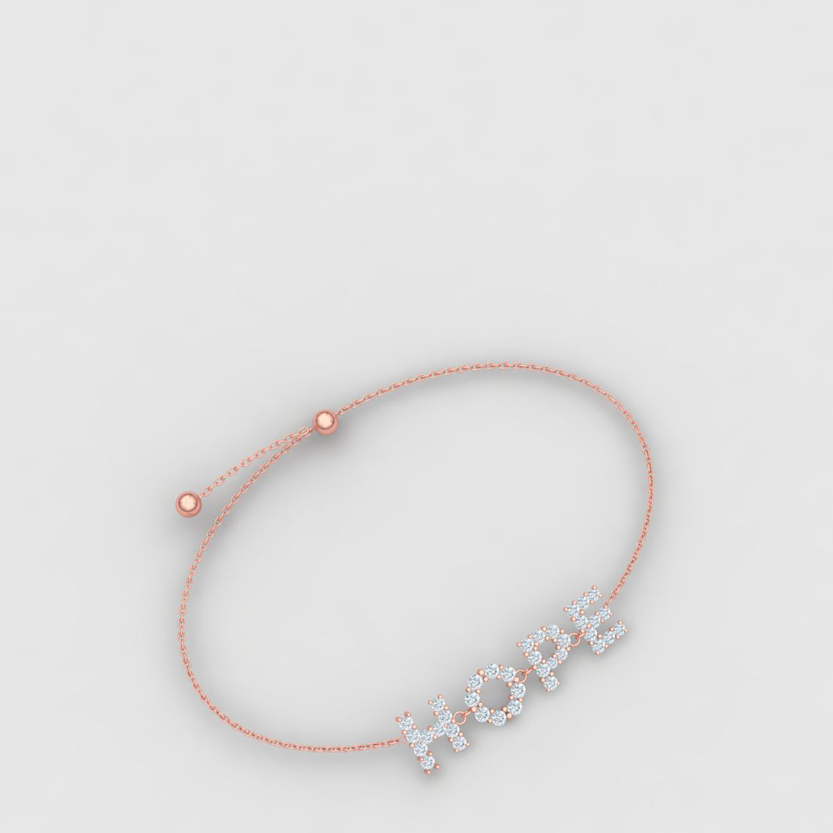 18k Rose Gold Hope Bracelet With Diamonds
