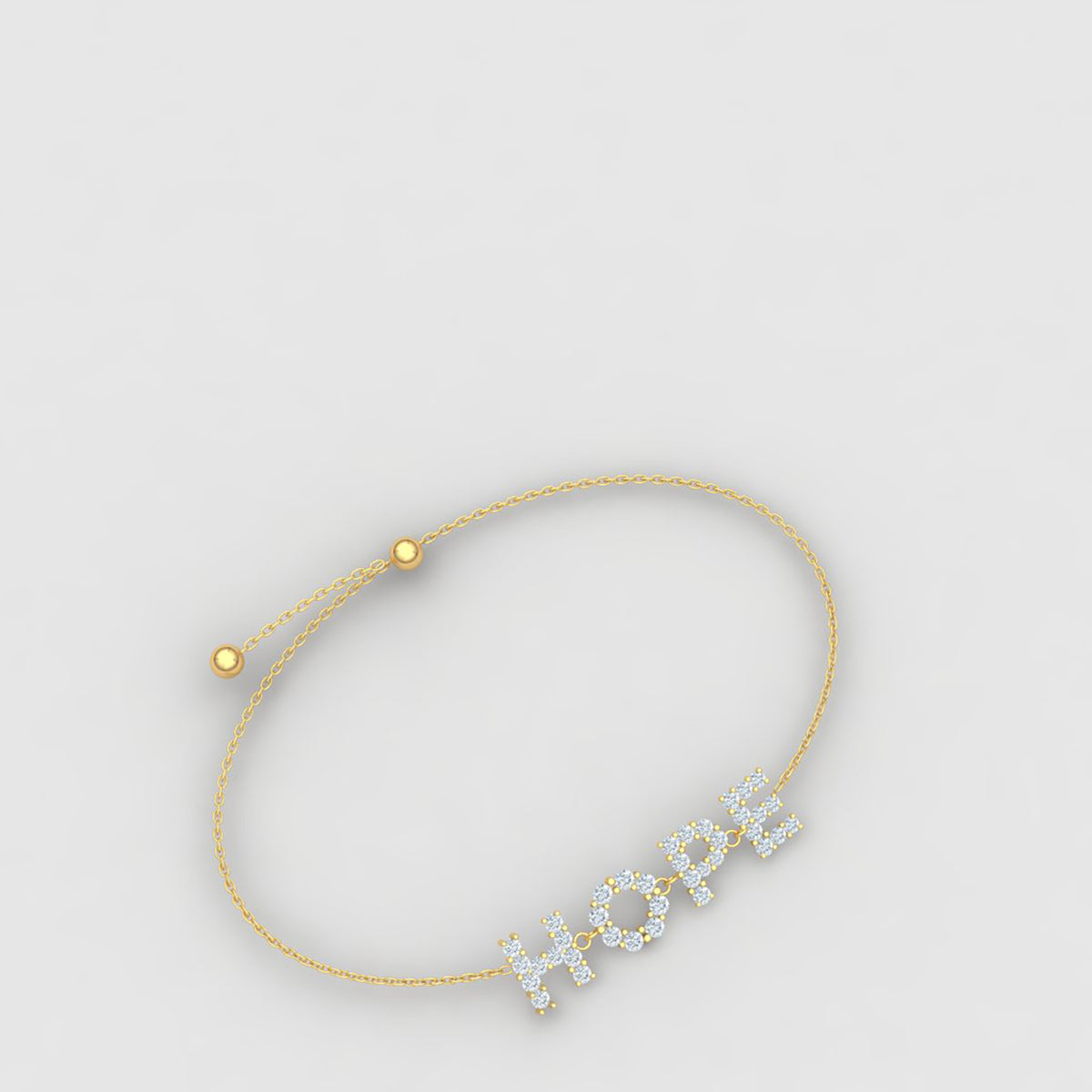 18k Yellow Gold Hope Bracelet With Diamonds