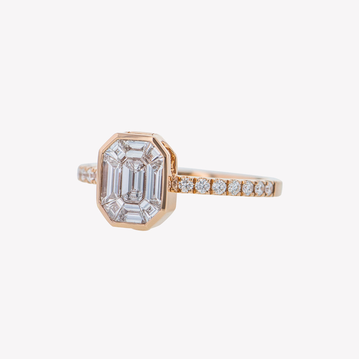 Detachable Rose Gold Emerald Head with Round Diamond Band