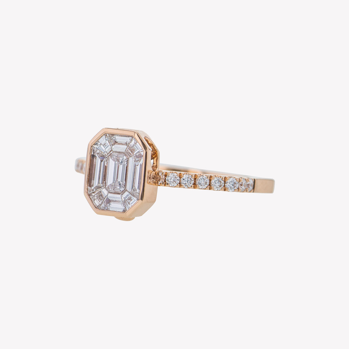Detachable Rose Gold Emerald Head with Octa Diamond Band