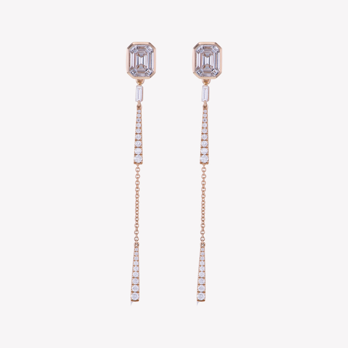 Rose Gold Emerald Studs with Drop Accessories