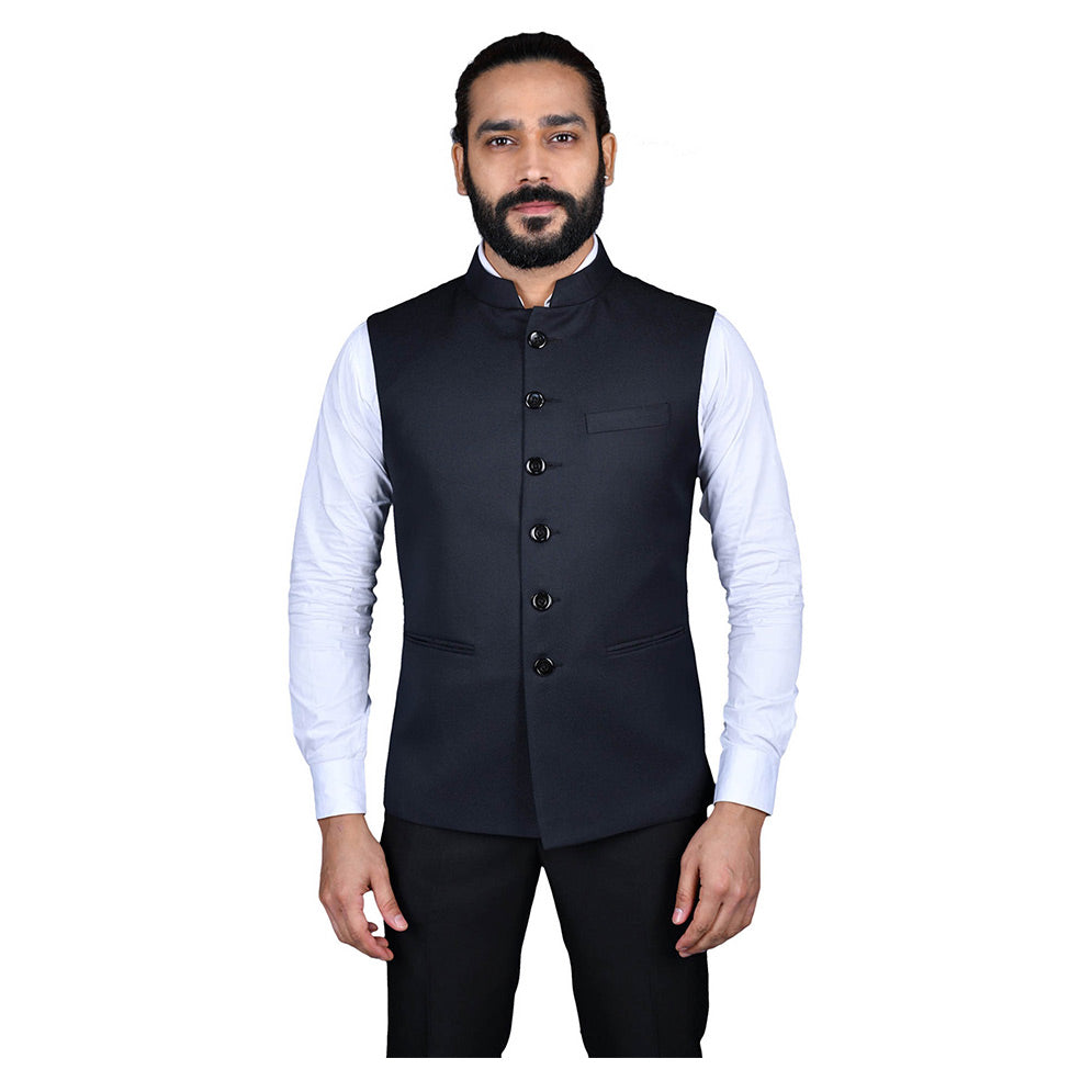 Ajay Arvindbhai Khatri Men's Jute Fabric Regular Nehru Jacket Blue Colour