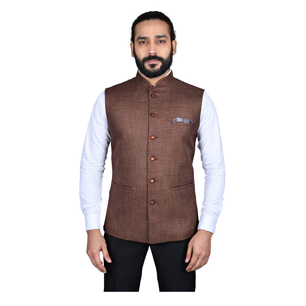 Ajay Arvindbhai Khatri Men's Jute Fabric Regular Nehru Jacket Brown Colour