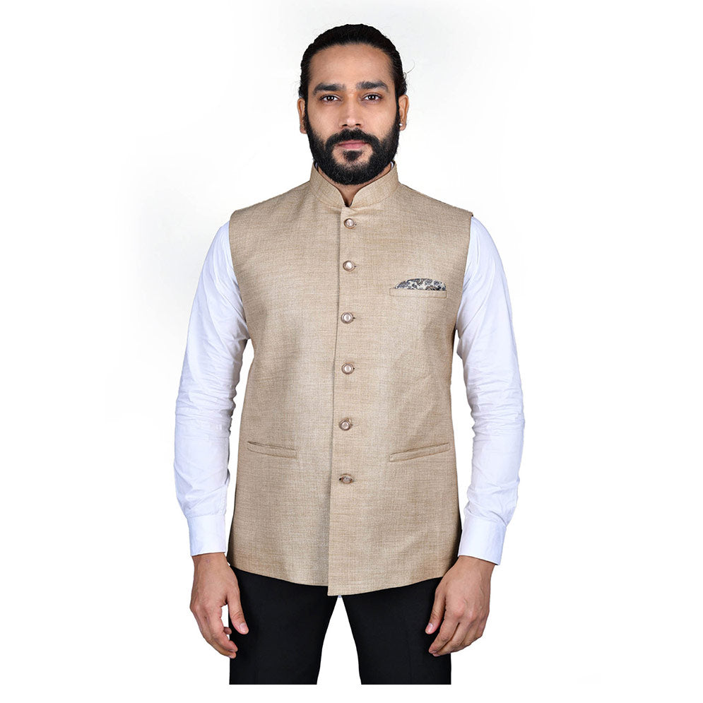 Ajay Arvindbhai Khatri Men's Jute Fabric Regular Nehru Jacket Caramel Colour