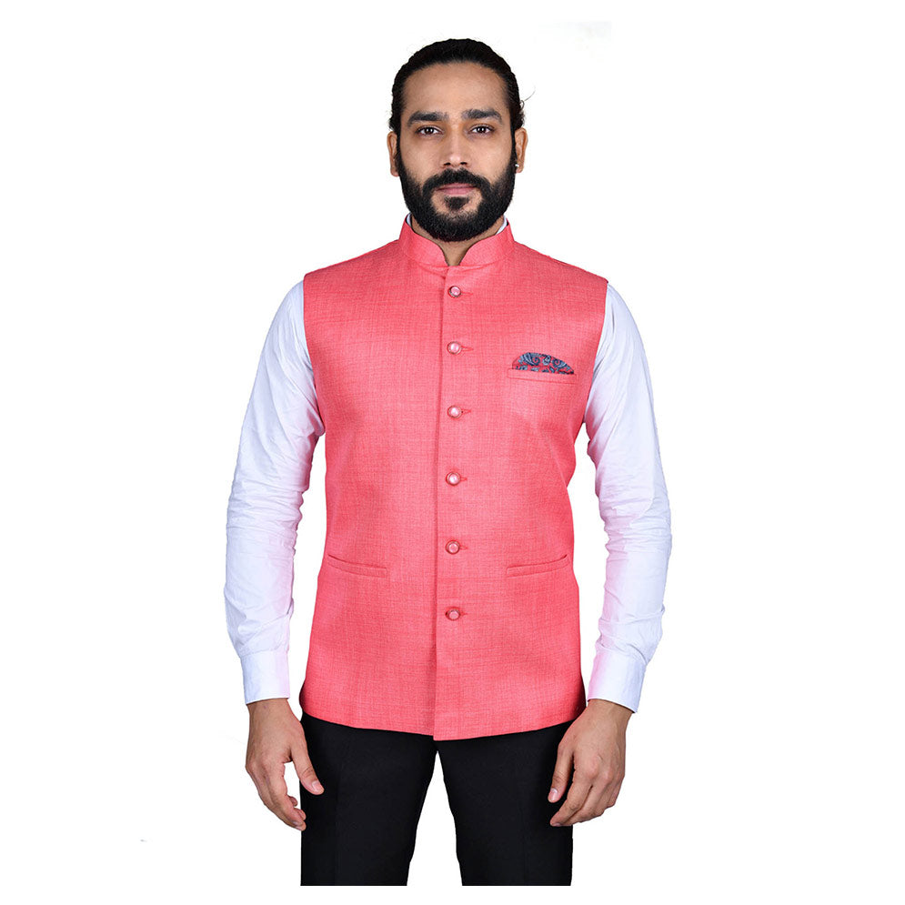 Ajay Arvindbhai Khatri Men's Jute Fabric Regular Nehru Jacket Dark Pink Colour
