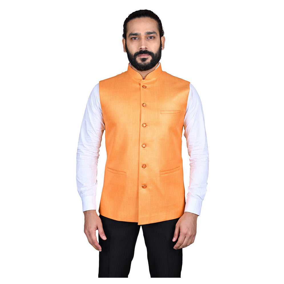 Ajay Arvindbhai Khatri Men's Jute Fabric Regular Nehru Jacket Orange Colour