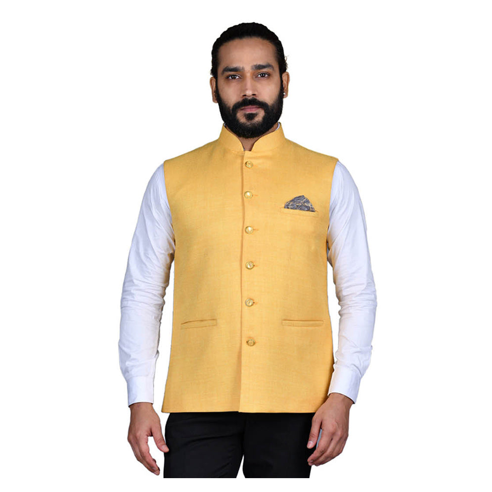 Ajay Arvindbhai Khatri Men's Jute Fabric Regular Nehru Jacket Yellow Colour