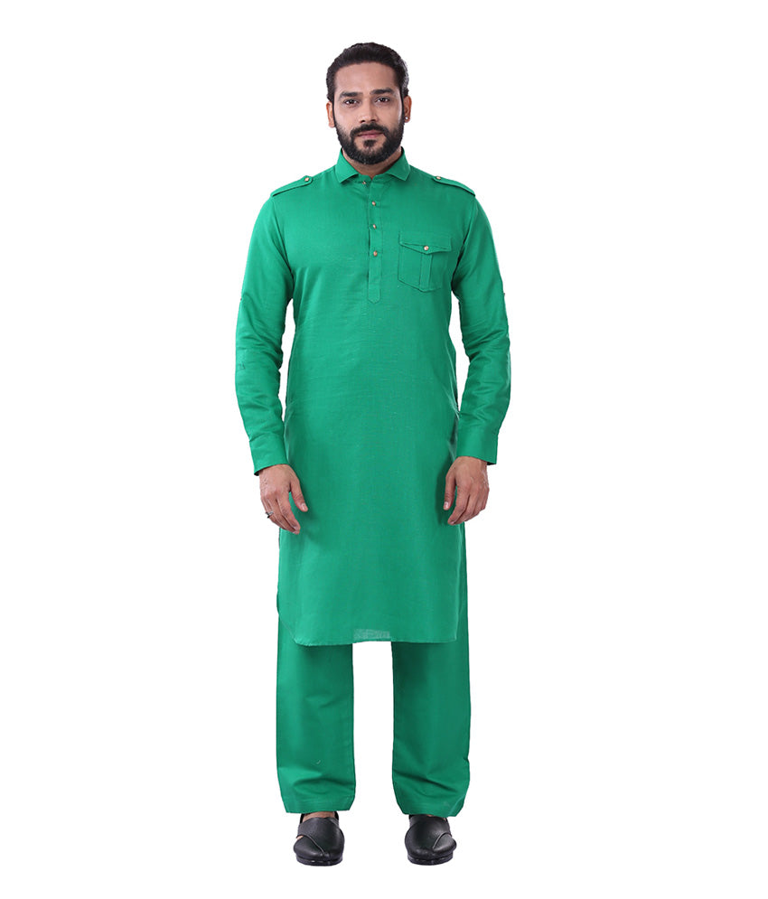Ajay Arvindbhai Khatri Men's Pure Cotton Regular Pathani Suit Set D GREEN Colour