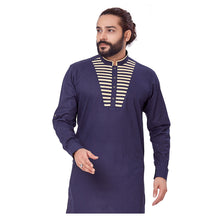 Load image into Gallery viewer, Ajay Arvindbhai Khatri Men's Pure Cotton Regular Chest Pattern Kurta Navy_Blue Colour
