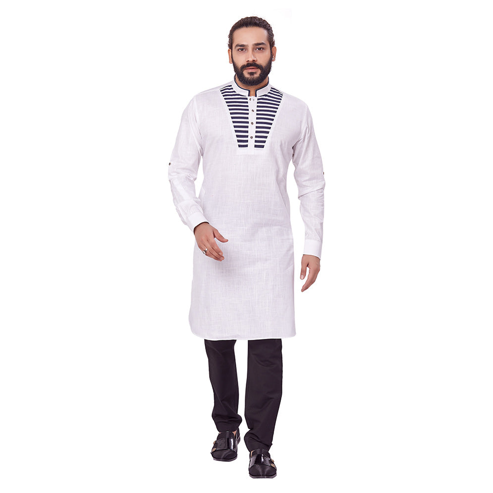 Ajay Arvindbhai Khatri Men's Pure Cotton Regular Chest Pattern Kurta White Colour