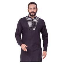 Load image into Gallery viewer, Ajay Arvindbhai Khatri Men's Pure Cotton Regular Chest Pattern Kurta Black Colour