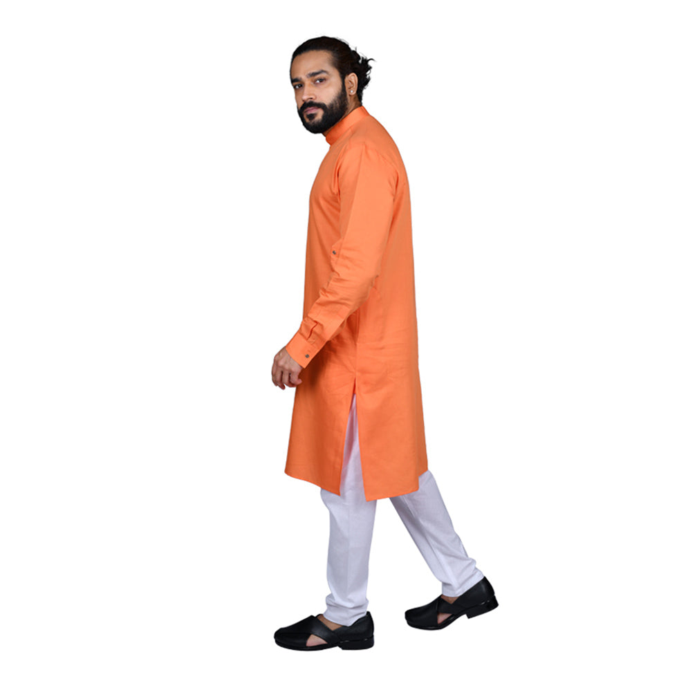 Ajay Arvindbhai Khatri Men's Executive Cotton Regular Stylish kurta Orange Colour