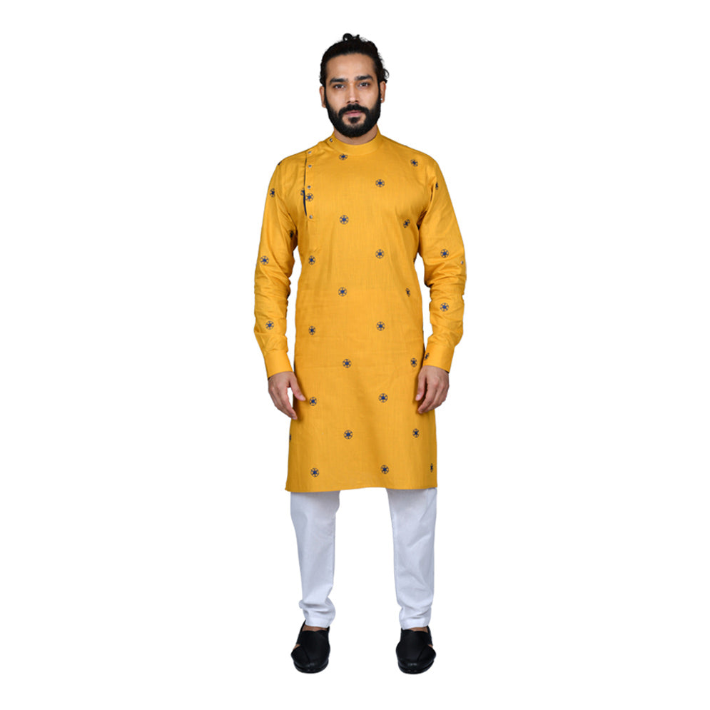 Ajay Arvindbhai Khatri Men's Poly Cotton Straight flower booti work Kurta YELLOW Colour
