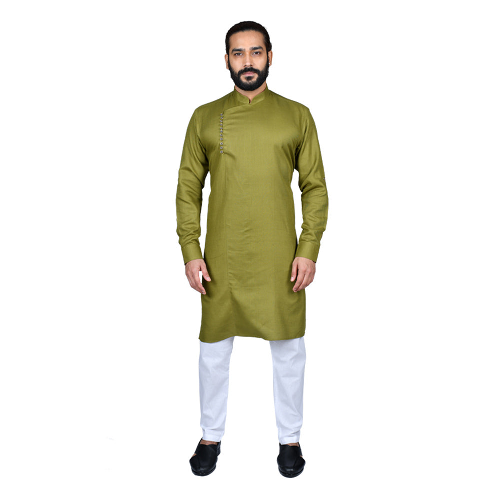 Ajay Arvindbhai Khatri Men's Executive Cotton Regular Stylish kurta Green Colour