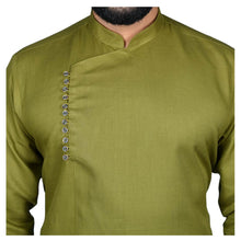 Load image into Gallery viewer, Ajay Arvindbhai Khatri Men's Executive Cotton Regular Stylish kurta Green Colour