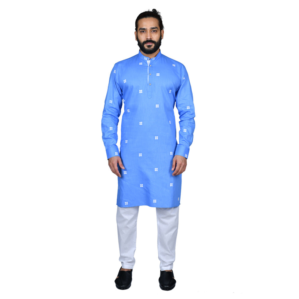 Ajay Arvindbhai Khatri Men's Poly Cotton Straight Booti work Kurta SkyBlue Colour