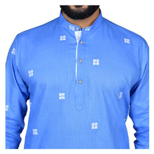 Load image into Gallery viewer, Ajay Arvindbhai Khatri Men's Poly Cotton Straight Booti work Kurta SkyBlue Colour