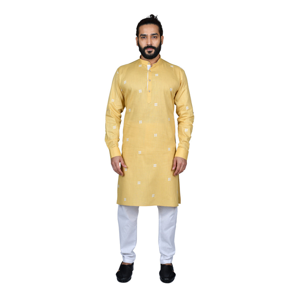 Ajay Arvindbhai Khatri Men's Poly Cotton Straight Booti work Kurta Yellow Colour