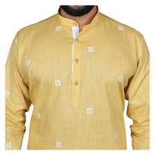 Load image into Gallery viewer, Ajay Arvindbhai Khatri Men's Poly Cotton Straight Booti work Kurta Yellow Colour