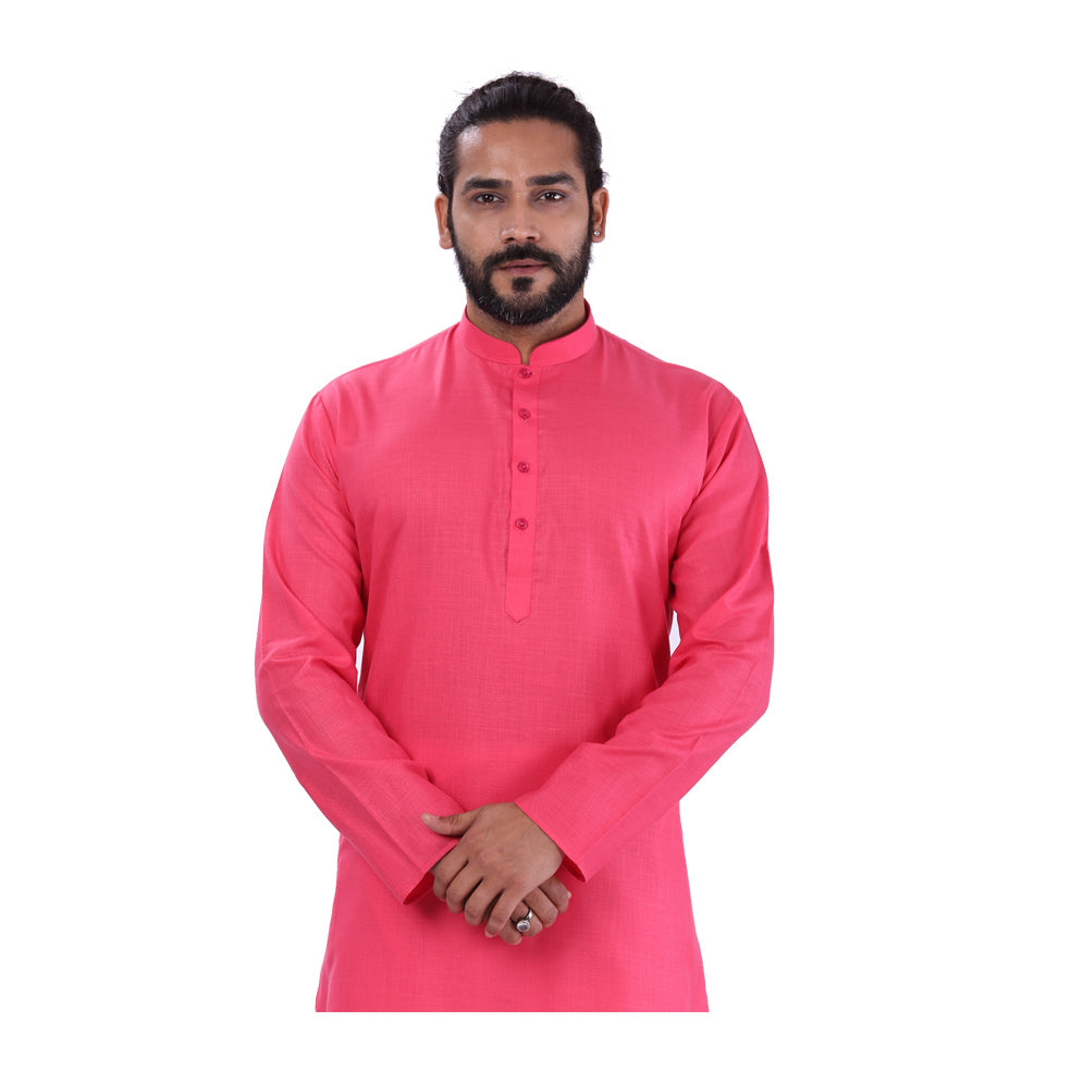 Ajay Arvindbhai Khatri Men's Pure Cotton Regular Kurta Dark Pink Colour