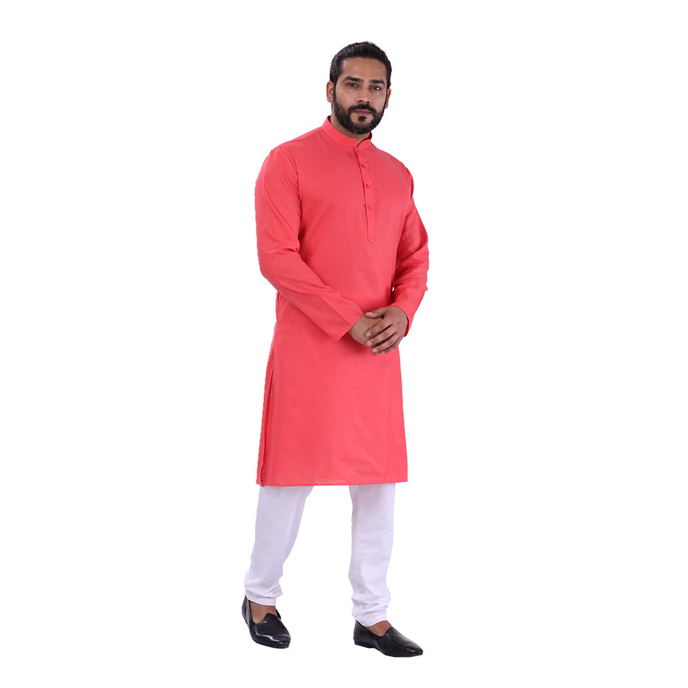 Ajay Arvindbhai Khatri Men's Pure Cotton Regular Kurta Carrot Red Colour