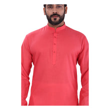 Load image into Gallery viewer, Ajay Arvindbhai Khatri Men's Pure Cotton Regular Kurta Carrot Red Colour