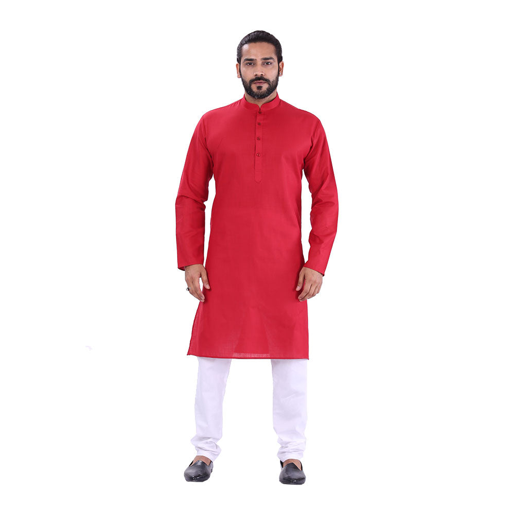 Ajay Arvindbhai Khatri Men's Pure Cotton Regular Kurta Maroon Colour