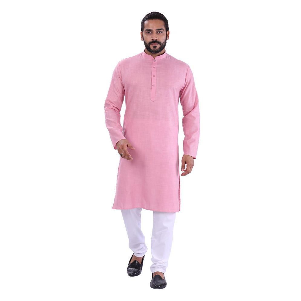 Ajay Arvindbhai Khatri Men's Pure Cotton Regular Kurta Light Pink Colour