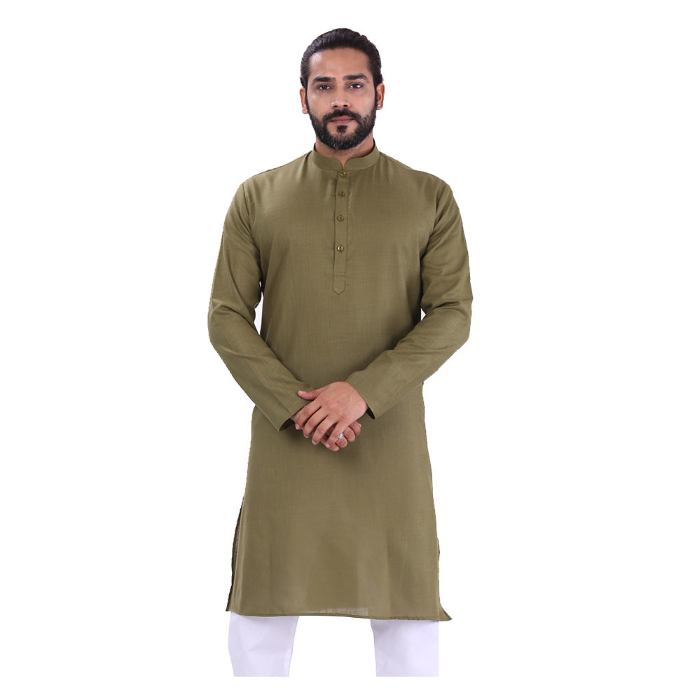 Ajay Arvindbhai Khatri Men's Pure Cotton Regular Kurta Dark Green Colour