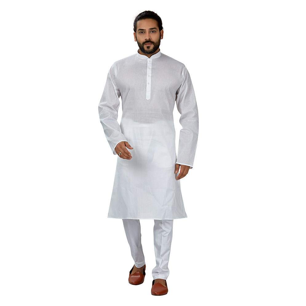 Ajay Arvindbhai Khatri Men's Pure Cotton Regular linning kurta White Colour