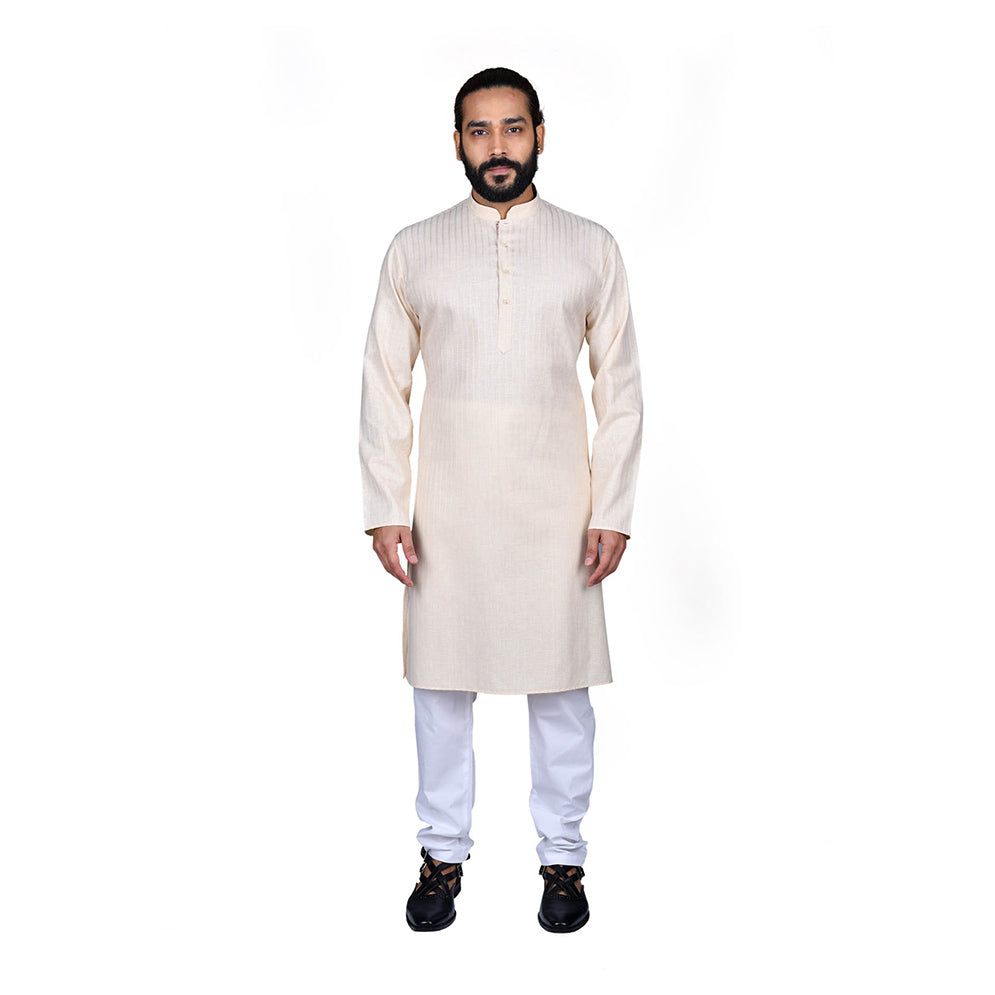 Ajay Arvindbhai Khatri Men's Poly Cotton Straight Linning Kurta Cream Colour