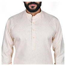 Load image into Gallery viewer, Ajay Arvindbhai Khatri Men's Poly Cotton Straight Linning Kurta Cream Colour