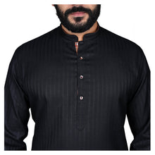 Load image into Gallery viewer, Ajay Arvindbhai Khatri Men's Poly Cotton Straight Linning Kurta Black Colour