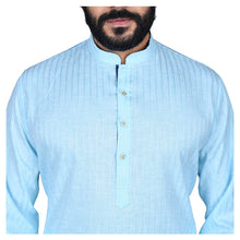 Load image into Gallery viewer, Ajay Arvindbhai Khatri Men's Poly Cotton Straight Linning Kurta Sky Blue Colour