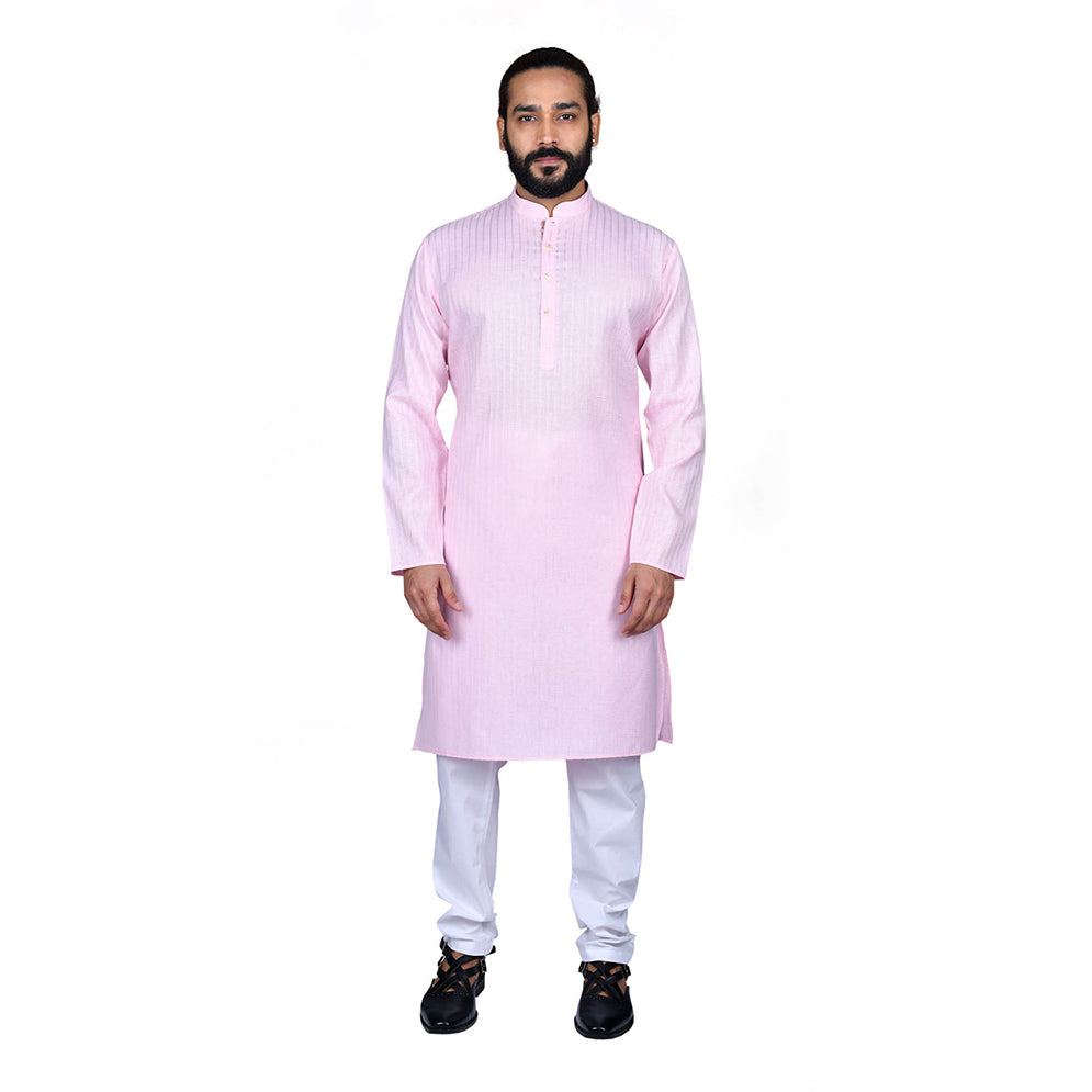 Ajay Arvindbhai Khatri Men's Poly Cotton Straight Linning Kurta Light Pink Colour
